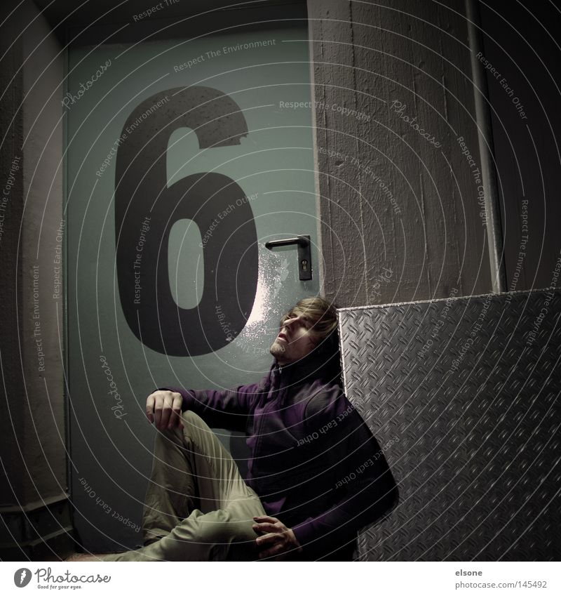 ::6-SETZEN:: Digits and numbers Door Evening Night Portrait photograph Human being Man Sit Detail Dusk Youth (Young adults)
