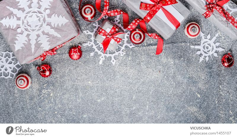 Christmas presents with paper snowflakes and decorations Shopping Style Design Winter Flat (apartment) Interior design Decoration Event Feasts & Celebrations