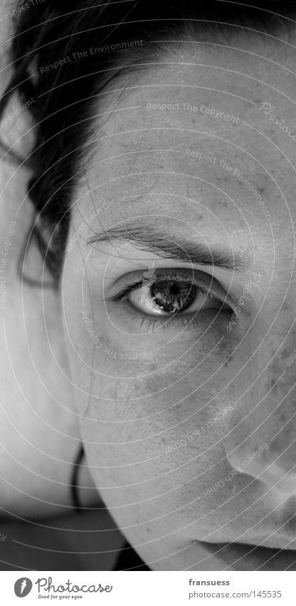 Woman Face Eyes Mouth Nose Self portrait Half Part