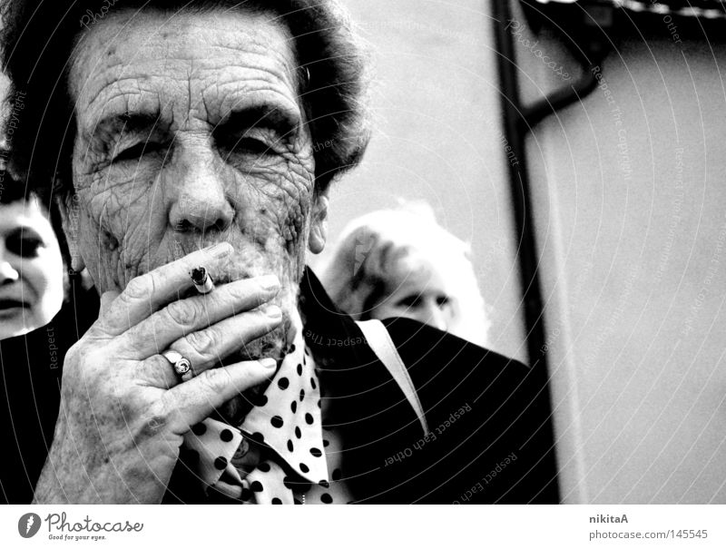 Woman Old Sadness Search Family & Relations Gloomy Smoke Grandmother