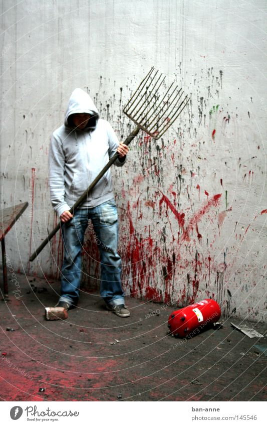 the cleaning man Murder Blood Creepy Factory Assassin Nightmare Shock Gooseflesh Pitchfork Man Extinguisher Inject Interior shot Fear Panic Industry Dangerous