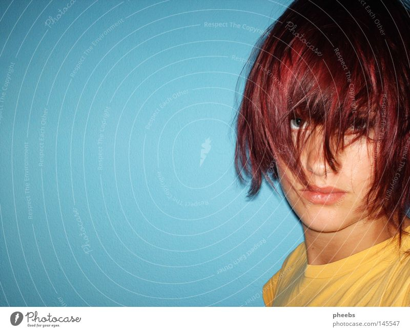 Woman Youth (Young adults) Blue Face Yellow Hair and hairstyles Head Mouth Nose Violet Portrait photograph Neck
