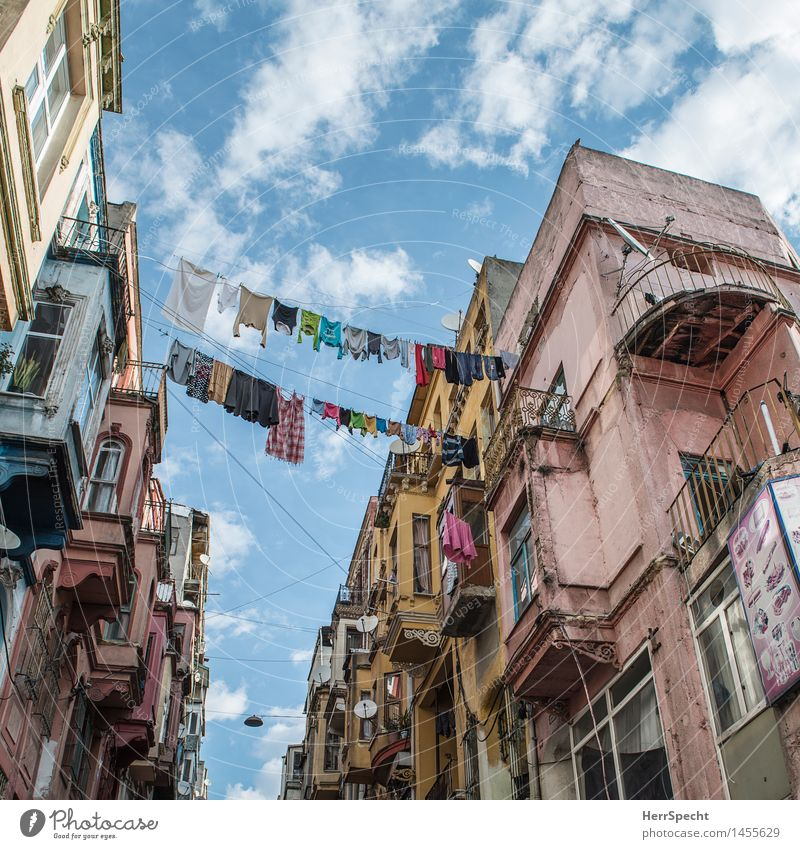 Washing day with family Erdogan Istanbul Old town House (Residential Structure) Manmade structures Building Architecture Facade Balcony Poverty Esthetic