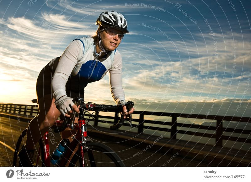 RACE Racing cycle Sunrise Woman Racing sports Driving Speed Back-light Red Vacation & Travel Cycling tour Leisure and hobbies Helmet Sports Morning