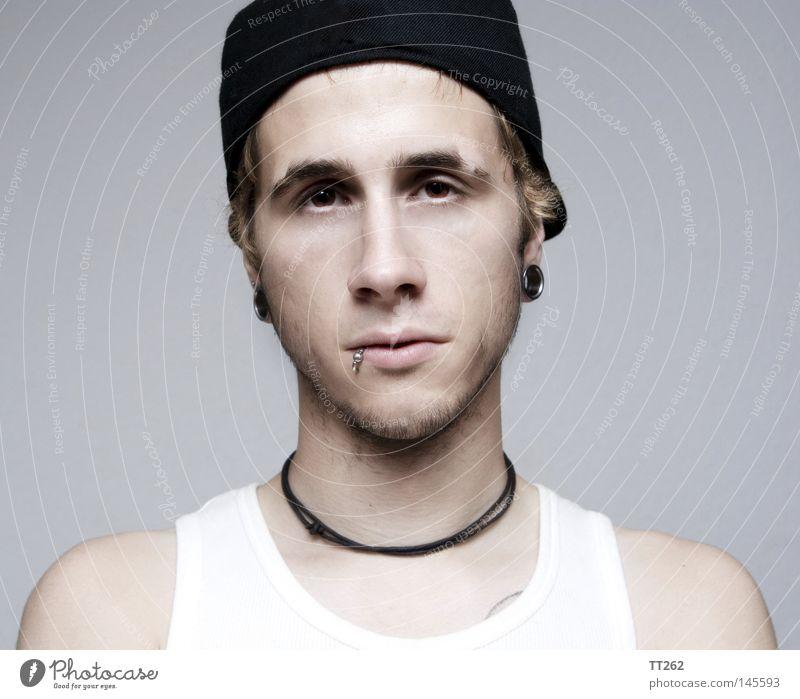 Untitled Human being Portrait photograph Tunnel Piercing Lip piercing Baseball cap Gloomy Man dave ear jewellery clean Boredom Irritation
