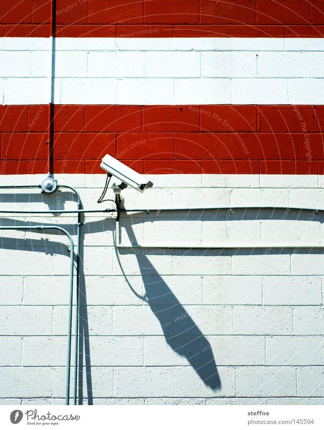 Red Fear Safety Camera Observe Stripe Testing & Control Video camera Austria Panic Surveillance Spy Terror Politics and state Monitoring Terrorism