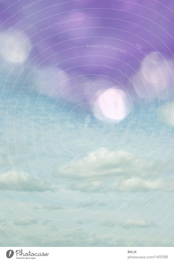 Sky Blue White Clouds Relaxation Dream Horizon Lighting Background picture Glittering Aviation Roof Break Point Kitsch Violet