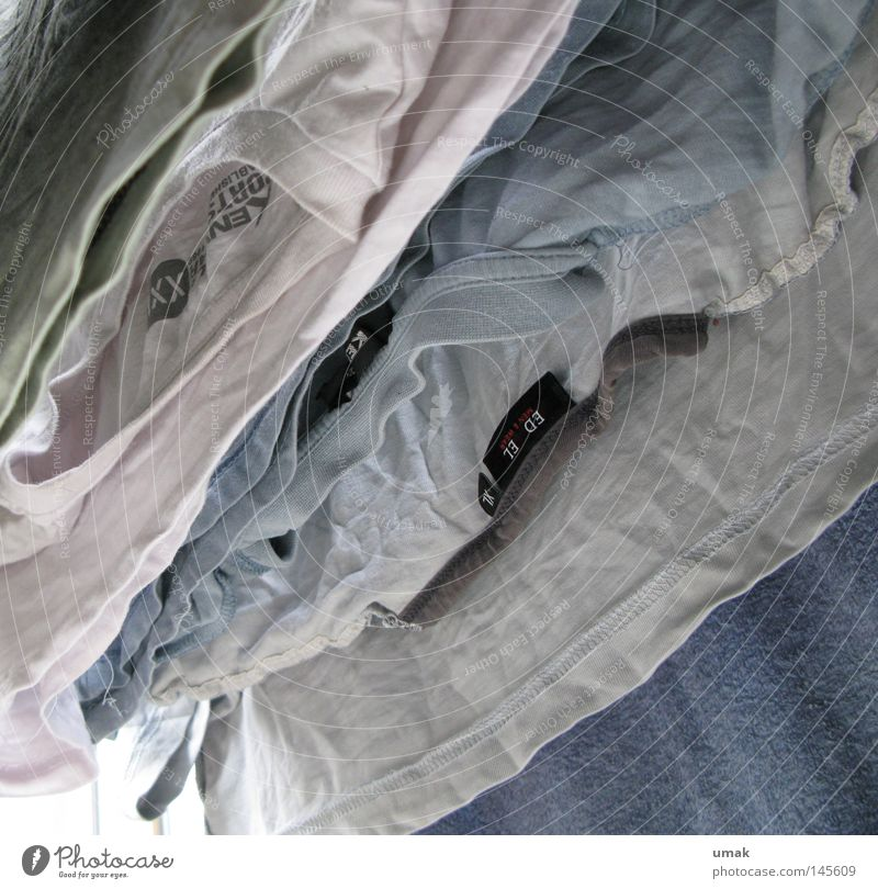 Shirt Parade Rope Laundry Laundered Cloth T-shirt Blue White Gray Fresh Diagonal Light blue Clean Dry Clothesline Hang up Clothes peg Clothing Household