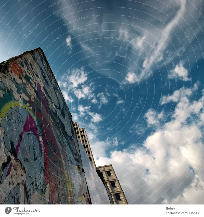 Sky City Blue Vacation & Travel House (Residential Structure) Clouds Berlin Wall (barrier) Art Germany High-rise Trip Tourism Border Monument