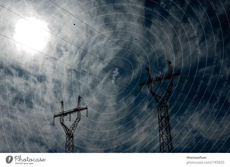 Sky Sun Clouds Environment Energy Industry Electricity Dangerous Future Electricity pylon Climate change Socket High voltage power line Renewable energy