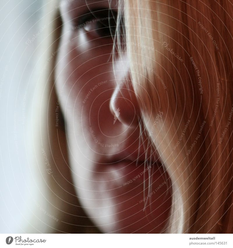 Woman Eyes Colour Feminine Hair and hairstyles Mouth Blonde Nose Hide