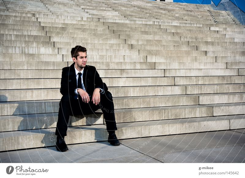 rest Life Education Business Masculine Man Adults Town Building Stairs Suit Concrete Stress Break Transience Time sitting resigned businnes seated resignation