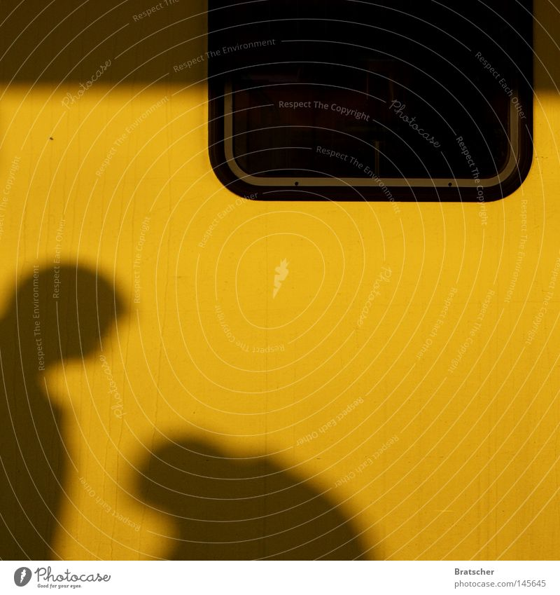 I don't like Mondays. Yellow Window Shadow Human being Encounter Bright background Copy Space middle 2 Size difference Silhouette