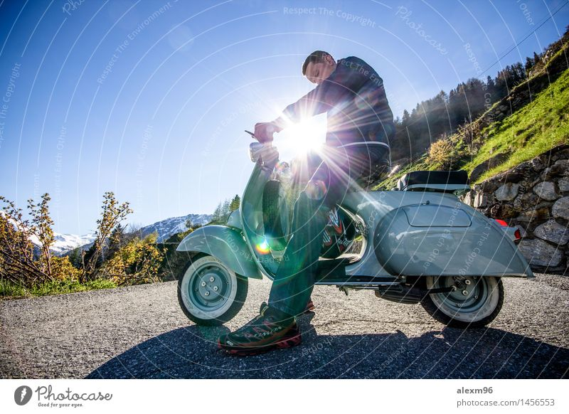 Oldtimer Vespa scooters drive in summer Lifestyle Joy Happy Leisure and hobbies Trip Adventure Freedom Masculine Young man Youth (Young adults) 1 Human being