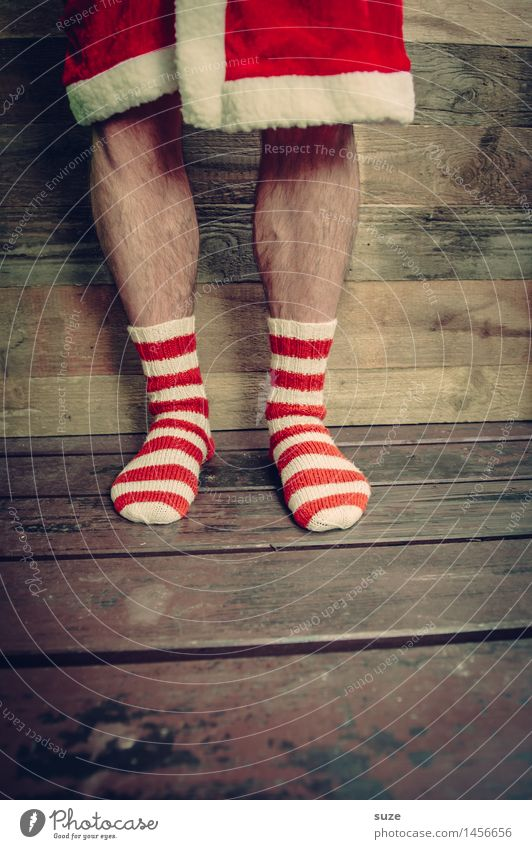 Human being Christmas & Advent White Red Funny Wood Legs Feasts & Celebrations Exceptional Fashion Brown Feet Masculine Creativity Clothing Simple