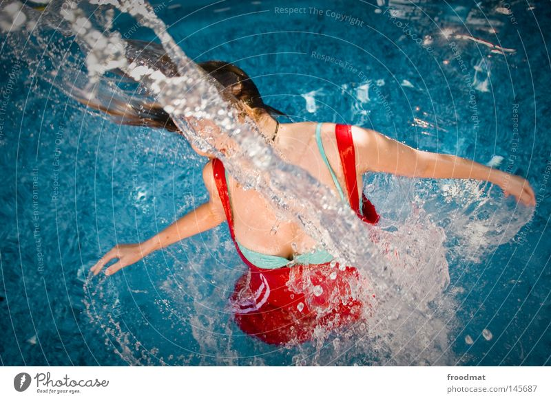 Woman Blue Water Beautiful Red Summer Joy Clouds Sports Hair and hairstyles Style Line Swimming & Bathing Wind Wet Speed