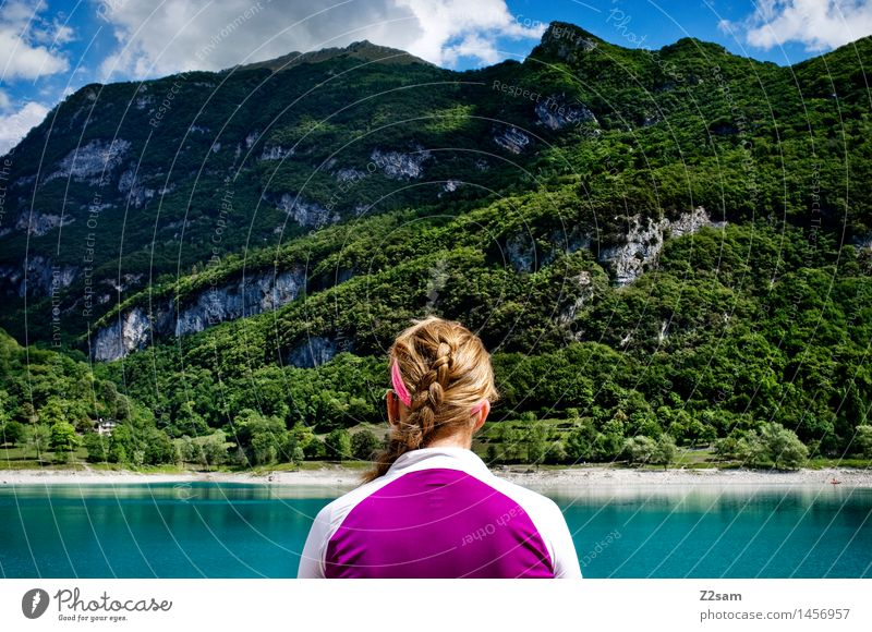 Nature Vacation & Travel Youth (Young adults) Summer Young woman Tree Relaxation Landscape Mountain Environment Natural Feminine Sports Lifestyle Freedom Dream
