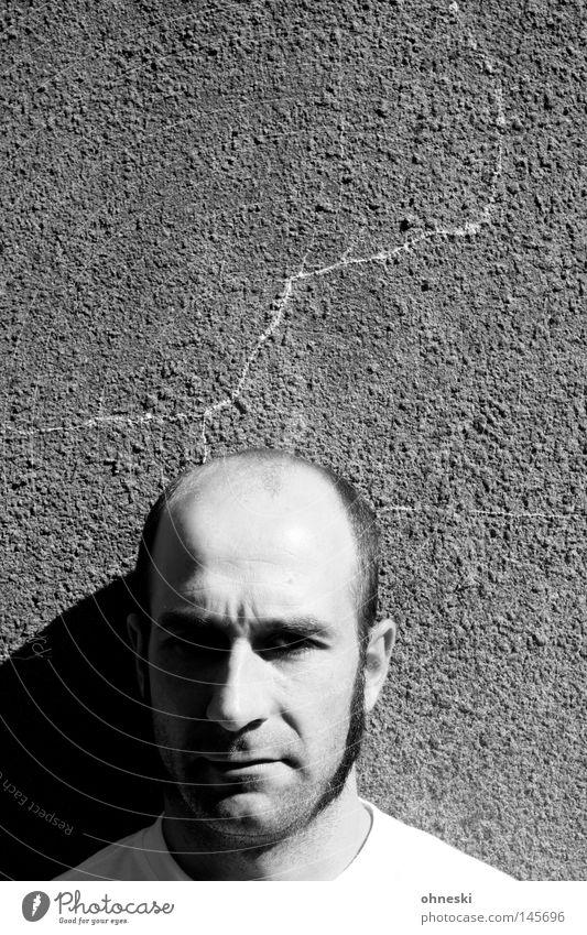 Mitski has a headache Portrait photograph Black & white photo Bald or shaved head Wall (building) Face Wrinkle Ferocious Pain Crack & Rip & Tear Sun Shadow