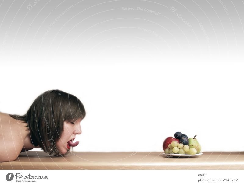 greed Portrait photograph Plate Table Woman Arm poor fruit Tongue Table edge Tabletop