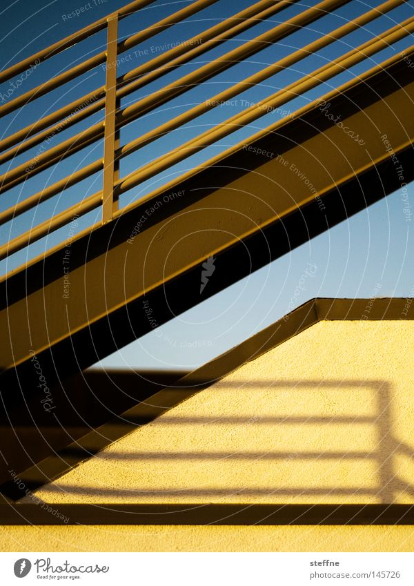 Half stairs. Stairs Yellow Evening sun Light Smooth Shadow Banister Roof Detail half staircase stairway you know