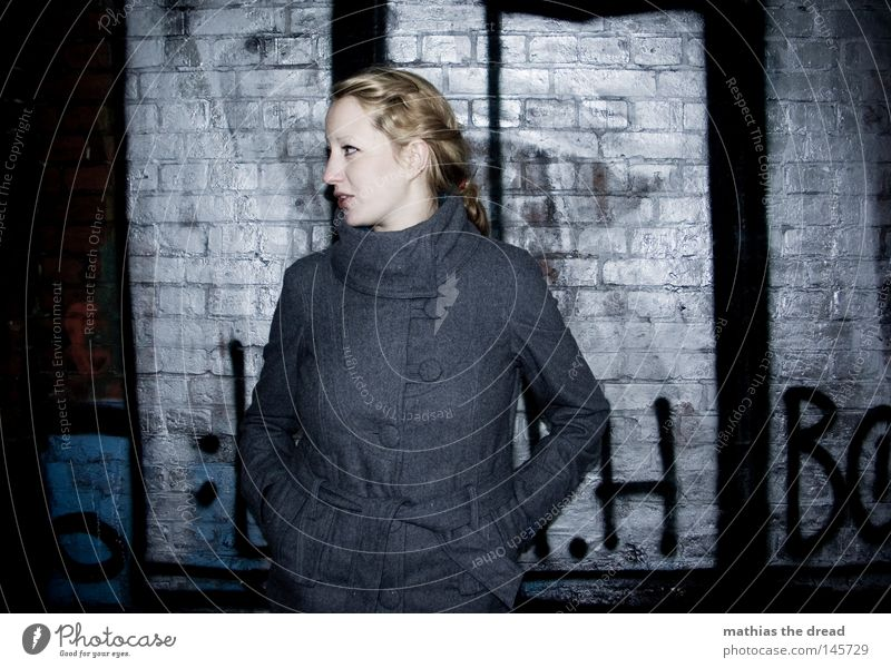 Woman Winter Black Loneliness Colour Autumn Street Dark Cold Snow Wall (building) Graffiti Gray Warmth Stone