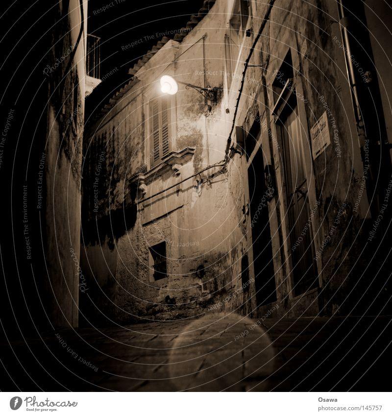 Ragusa 01 Dubrovnik Sicily Italy Town Baroque Ancient Night Night shot Street Lanes & trails Lantern Street lighting Facade Old Derelict Landmark Monument
