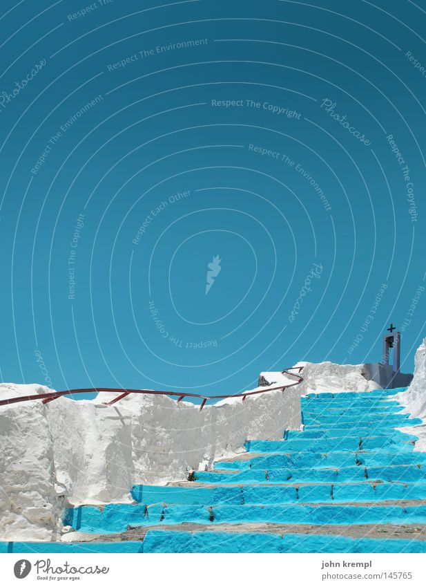 Sky White Blue Above Weather Stairs Turquoise Upward Banister Greece God Deities Bell Monastery