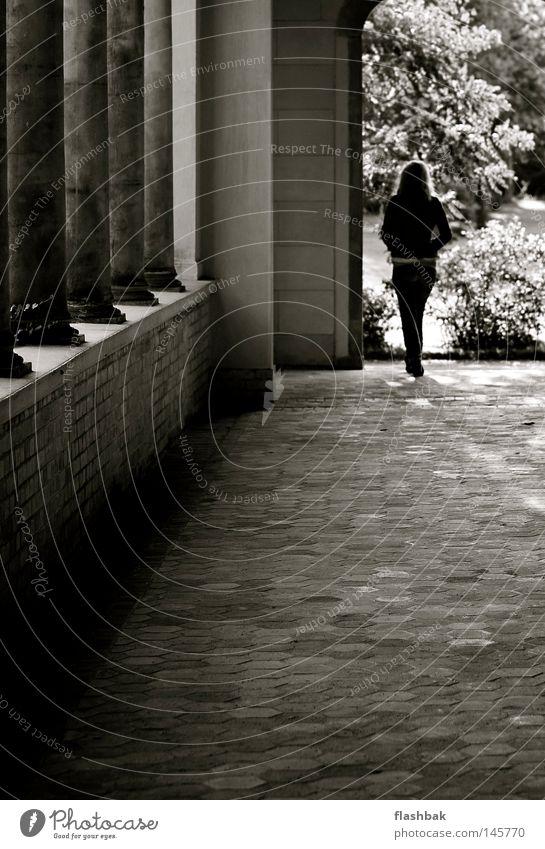 Wednesday - quarter past five Woman Column Potsdam Park Stone Blonde Gate Historic Autumn 5:15 p.m. Rear view