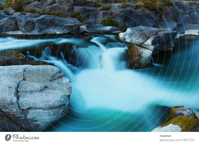 Waterfall Basalt rock Nature Landscape Spring Rock River Stone Large Speed Relaxation Idyll Calm stagger Sicily Italy alcantara Body of water Current Wild