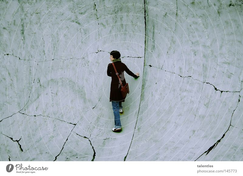 Woman Old Wall (building) Gray Wall (barrier) Fear Grief Climbing Distress Narrow Escape Captured Panic Crack & Rip & Tear Feeble