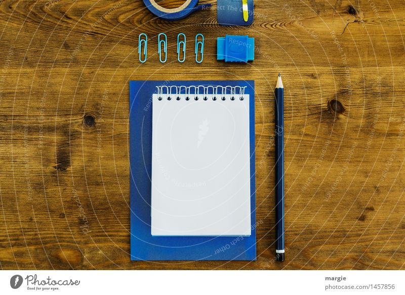Blue office utensils on the desk / landscape format Study Profession Office work Workplace Advertising Industry Financial institution Business Brown Desk Paper