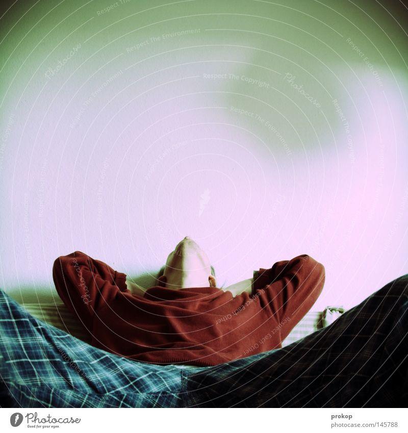 Human being Man Calm Relaxation Contentment Sleep Sit Lie Sofa To enjoy Boredom Doze