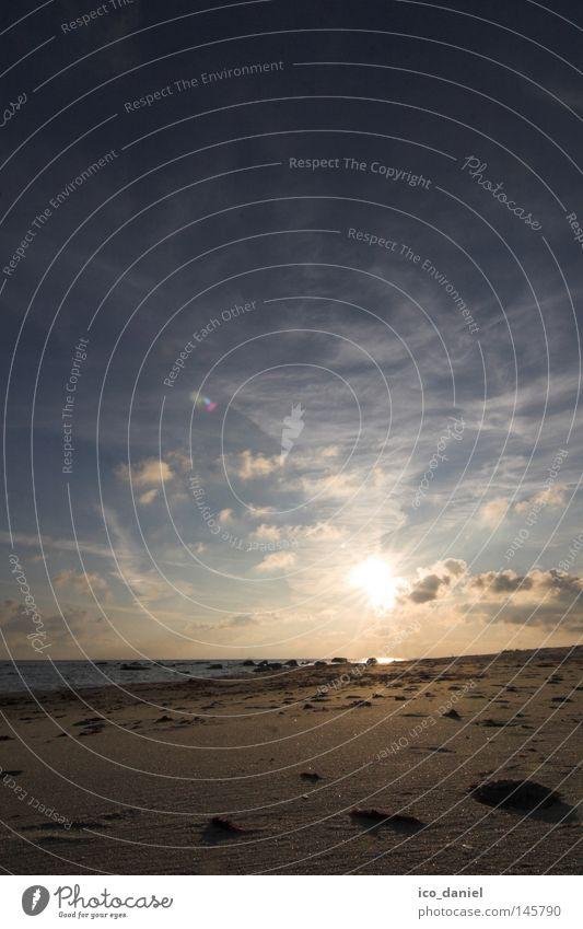 recollection Far-off places Freedom Sun Beach Ocean Water Sky Clouds Coast Baltic Sea Loneliness Bornholm Denmark Deep Sandy beach Back-light Earth Deserted