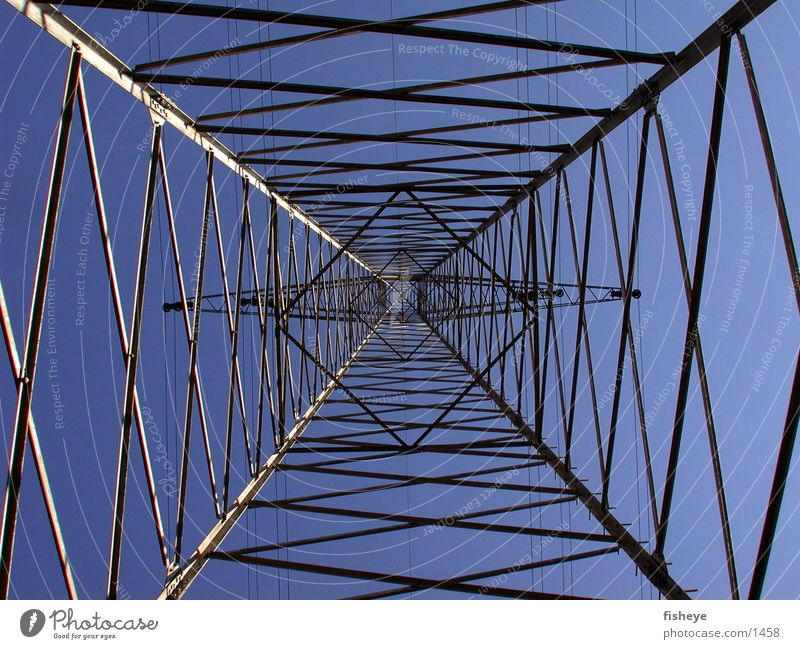 steel sky Electricity pylon Steel Construction Grating Architecture Sky Energy industry Transmission lines Blue