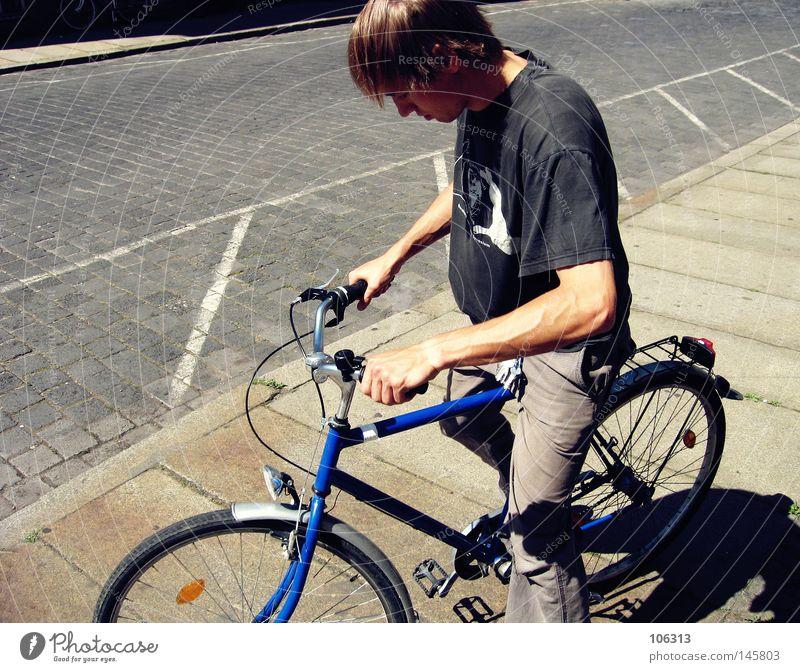 Blue Summer Black Warmth Bicycle Cool (slang) Driving Sidewalk T-shirt Physics Leipzig Depart Street