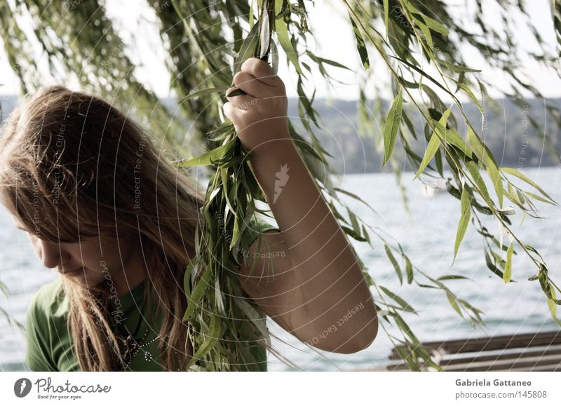"""Wissen Sie, was ich glaube?"" Nature Water Plant Summer Calm Far-off places Hair and hairstyles Dream Think Lake Waves Blonde Wait Wind Bench Human being"