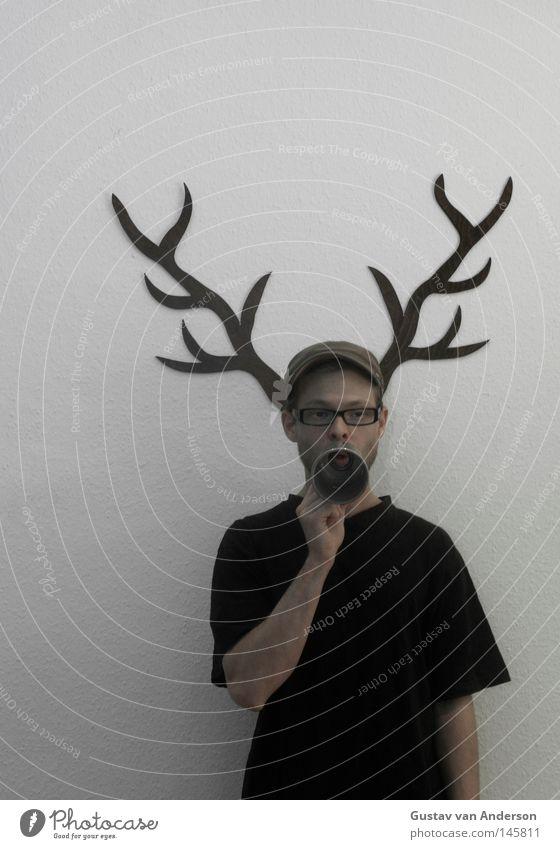 deer damage Deer Antlers White Wallpaper Pattern Hunter Hunting Wood Multicoloured Animal Green Tree Loud Eyeglasses Cap Black Megaphone Scream Human being