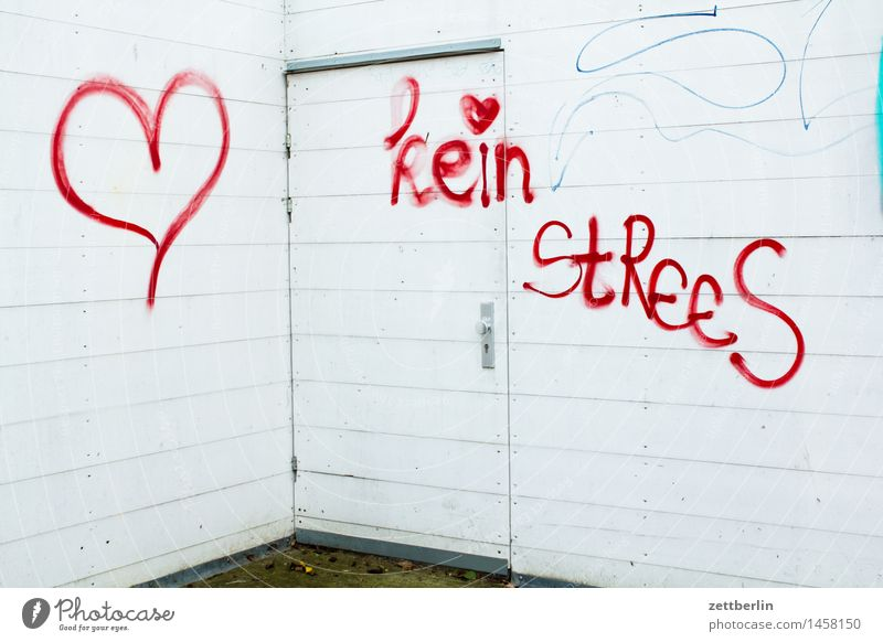 no StReeS Graffiti Illustration Media designer Stress Inscription Characters Write Smeared Vandalism Heart Love Romance Information Communication Wall (barrier)