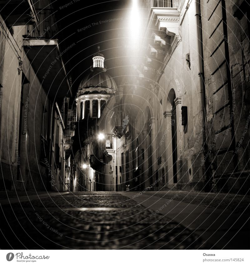 Ragusa 03 Dubrovnik Sicily Italy Town Baroque Ancient Night Night shot Street Doomed Lanes & trails Lantern Street lighting Facade Religion and faith Church