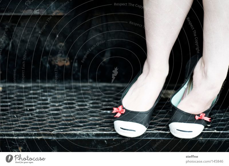 Woman Beautiful Feminine Footwear Legs Clothing Stairs Sweet Bow Alluring Handcuff Sense of taste