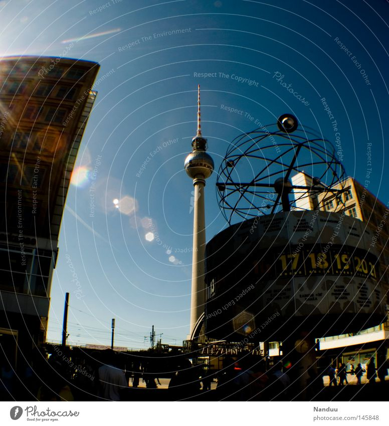 everything nestles to the tower Berlin Alexanderplatz Germany Berlin TV Tower Television tower High-rise Sky Fisheye Lens flare Patch of light Distorted Tourism