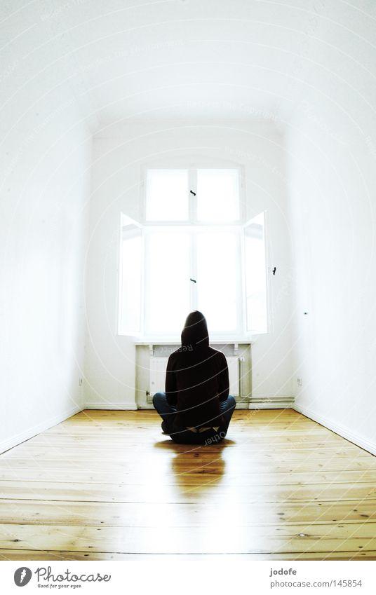 Meditation. Human being Living thing Sit Room Flat (apartment) Light Bright Awareness Overexposure Wooden floor Parquet floor Floor covering Ground Heater