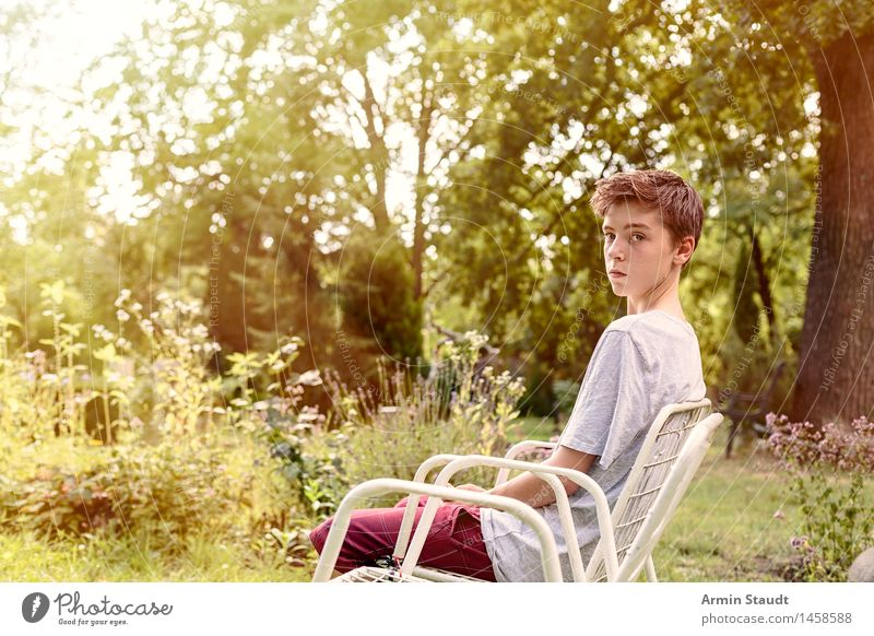 Empty chair III Lifestyle Relaxation Calm Summer Garden Chair Human being Masculine Young man Youth (Young adults) 1 13 - 18 years Nature Plant
