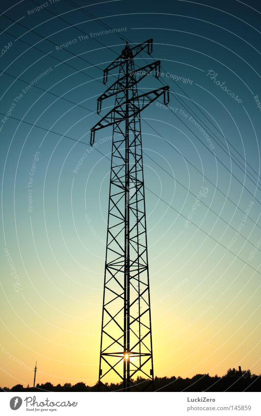 Sky Sun Blue Black Yellow Dark Autumn Orange Background picture Energy Horizon Tall Electricity Technology Cable Tower