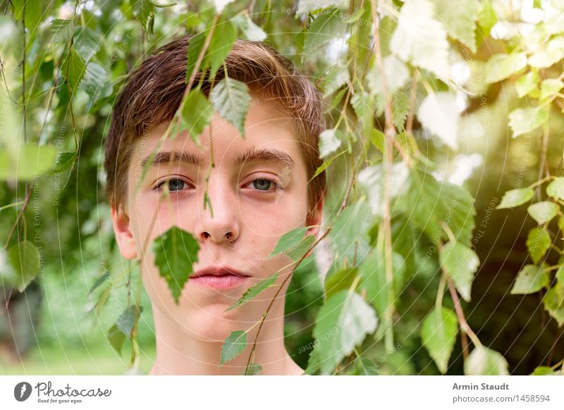 Human being Nature Youth (Young adults) Beautiful Green Summer Tree Relaxation Young man Life Emotions Lifestyle Happy Head Masculine Contentment