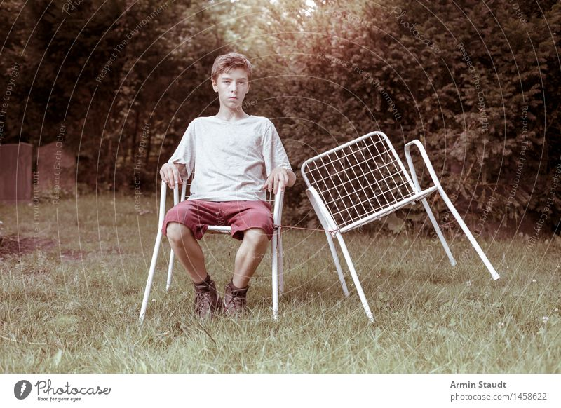 Empty chair II Lifestyle Relaxation Calm Garden Human being Masculine Young man Youth (Young adults) 1 13 - 18 years Nature Summer Beautiful weather Meadow