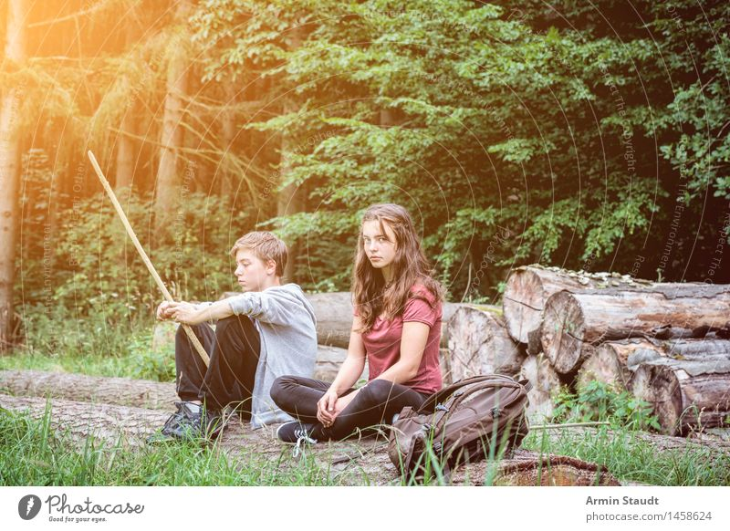 Hiking - Break - Forest Lifestyle Relaxation Calm Summer Masculine Feminine Young woman Youth (Young adults) Young man Woman Adults Brothers and sisters
