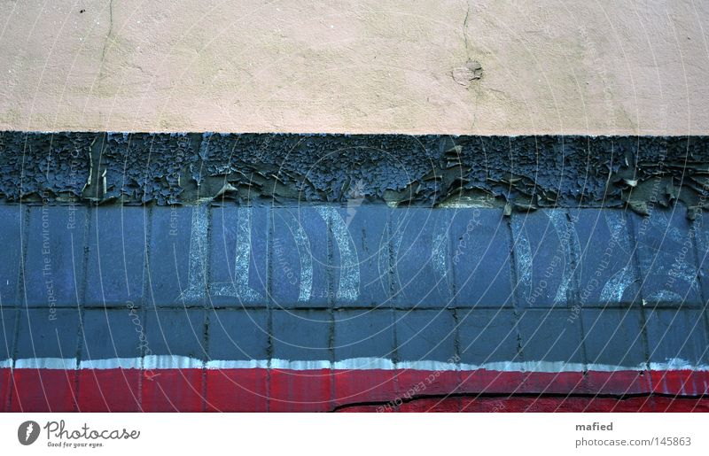 Old White Blue Red Colour Wall (building) Dye Wall (barrier) Dirty Characters Stripe Derelict Plaster Beige Logo Flake off