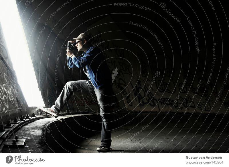 Eight millimeters Light Filming Rotate Video Vantage point Round Derelict Radar station Dark Empty Multicoloured Building Eyeglasses Human being Camera
