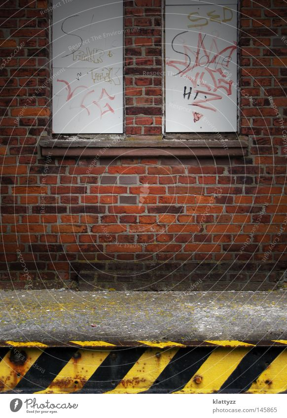 Old Red Black Colour Yellow Dark Window Wall (building) Graffiti Gray Stone Wall (barrier) Line Dirty Concrete Railroad